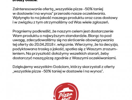 Pizza Hut kończy swoją promocję -50%